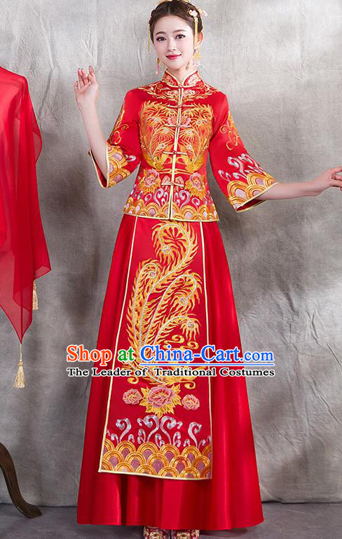 Chinese Traditional Embroidered Golden Phoenix Xiuhe Suit Ancient Wedding Red Toast Cheongsam Dress for Women