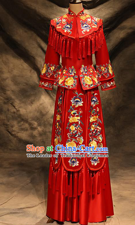 Traditional Chinese Embroidered Peony Toast Cheongsam Ancient Bottom Drawer Xiuhe Suit Wedding Dress for Women