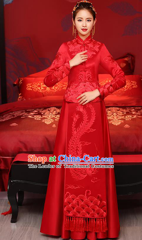 Traditional Chinese Toast Cheongsam Ancient Embroidered Phoenix Red Bottom Drawer Xiuhe Suit Wedding Dress for Women