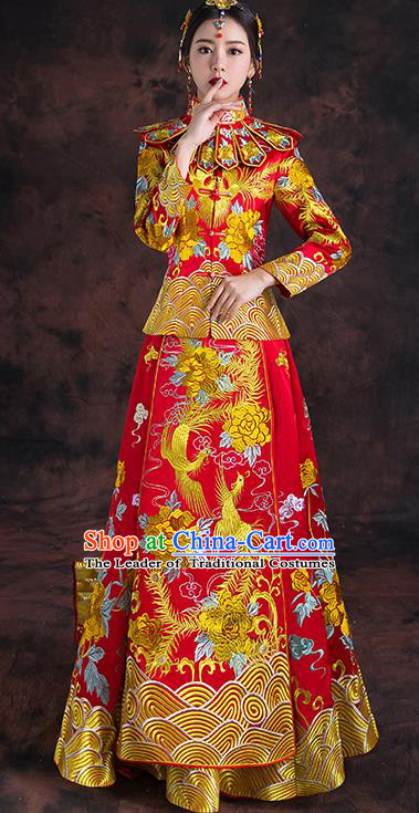 Traditional Chinese Trailing Toast Cheongsam Ancient Embroidered Phoenix Bottom Drawer Xiuhe Suit Wedding Dress for Women