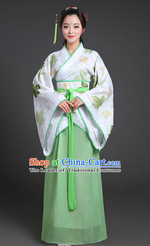 Chinese Ancient Drama Han Dynasty Princess Embroidered Green Hanfu Dress for Women