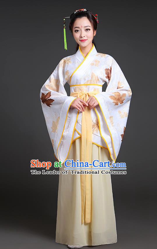 Chinese Ancient Drama Han Dynasty Princess Embroidered Yellow Hanfu Dress for Women