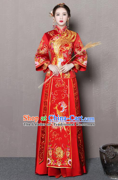 Chinese Traditional Xiuhe Suit Embroidered Phoenix Longfeng Flown Ancient Wedding Dress for Women