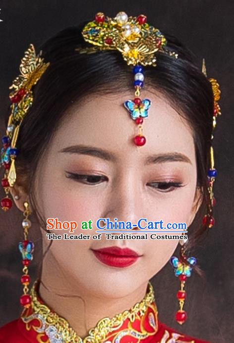 Chinese Traditional Wedding Hair Accessories Bride Blueing Butterfly Hairpins Complete Set for Women