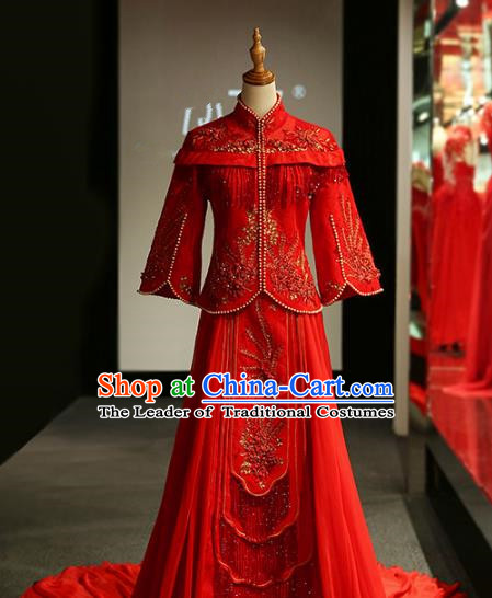 Chinese Traditional Wedding Xiuhe Suit Ancient Longfeng Flown Bride Embroidered Red Dress for Women