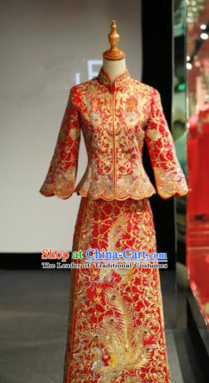 Chinese Traditional Wedding Crystal Xiuhe Suit Ancient Longfeng Flown Bride Embroidered Cheongsam Dress for Women