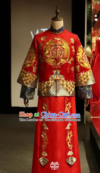 Chinese Traditional Wedding Xiuhe Suit Costume Ancient Bridegroom Tang Suit Embroidered Clothing for Men
