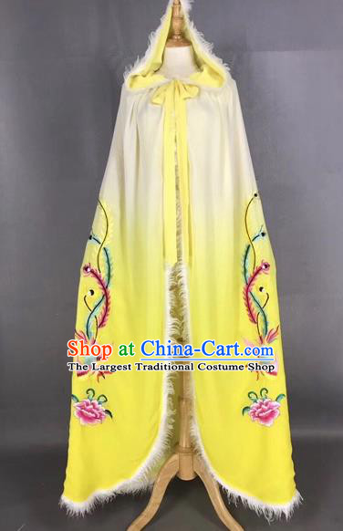 Chinese Traditional Peking Opera Princess Yellow Cloak Beijing Opera Diva Embroidered Phoenix Costumes for Adults
