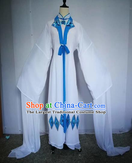 Chinese Traditional Peking Opera Actress White Dress Beijing Opera Buddhist Nun Embroidered Costumes for Adults