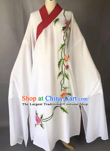 Chinese Traditional Beijing Opera Scholar White Robe Peking Opera Niche Costume for Adults