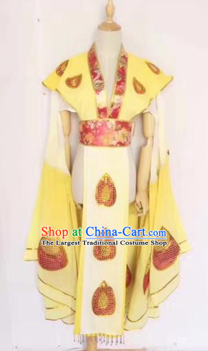 Chinese Peking Opera Butterfly Lovers Yellow Dress Traditional Beijing Opera Young Lady Embroidered Costumes for Adults