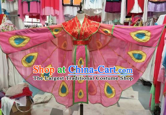 Traditional Chinese Peking Opera Diva Costume Beijing Opera Butterfly Lovers Pink Dress for Adults