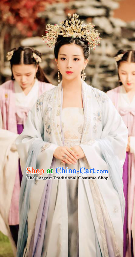 Legend Of Fu Yao Chinese Ancient Imperial Consort Costumes Traditional Palace Lady Hanfu Dress and Headpiece Complete Set