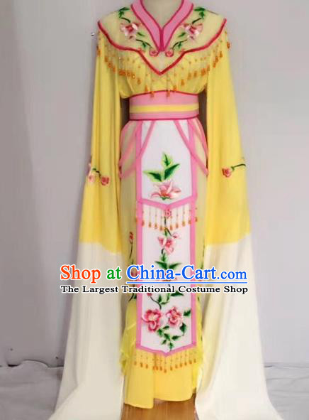 Traditional Chinese Peking Opera Princess Fairy Yellow Dress Beijing Opera Diva Costume for Adults