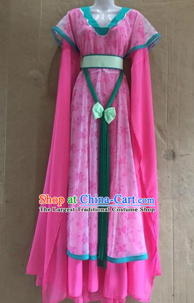 Chinese Beijing Opera Diva Rosy Dress Ancient Court Maid Costume for Adults