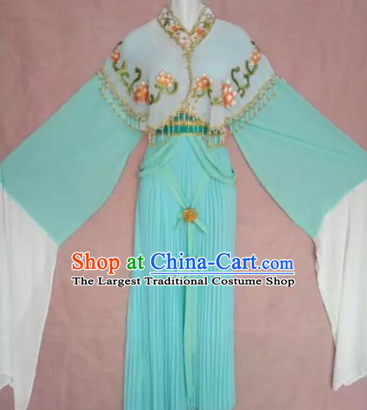 Chinese Traditional Peking Opera Rich Lady Blue Dress Ancient Princess Embroidered Costume for Adults