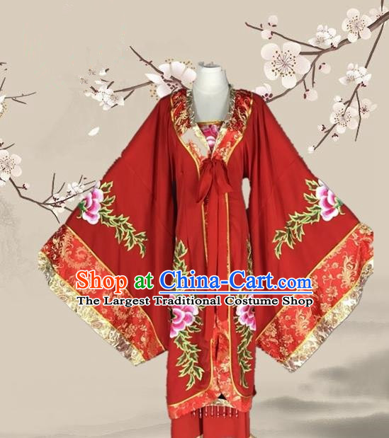 Chinese Ancient Empress Dowager Red Dress Traditional Beijing Opera Pantaloon Costume for Adults