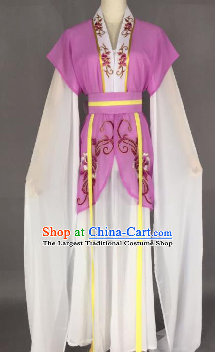 Chinese Ancient Court Maid Purple Dress Traditional Beijing Opera Actress Costume for Adults