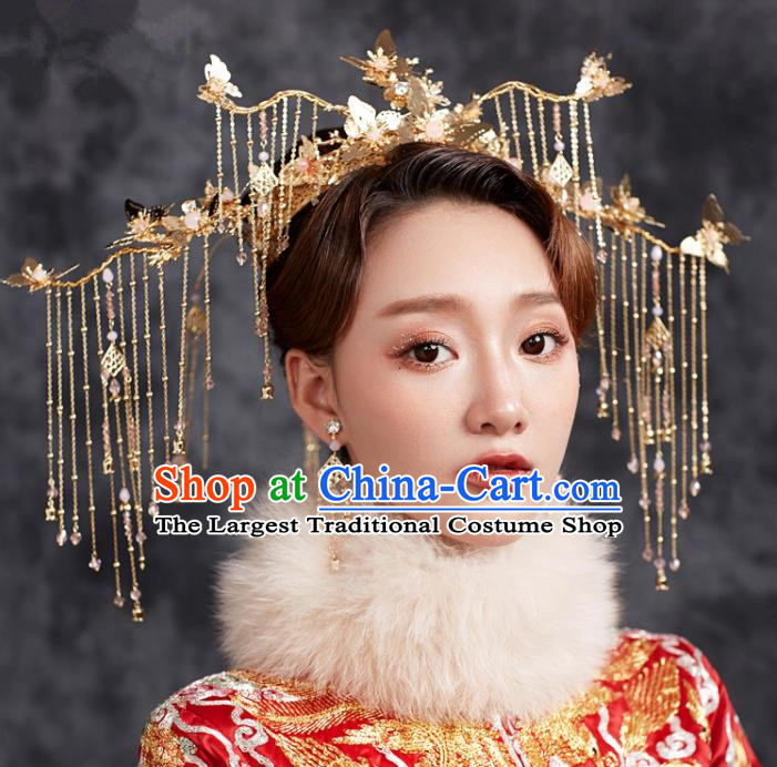 Chinese Ancient Hanfu Wedding Tassel Phoenix Coronet Hair Accessories Traditional Hairpins for Women