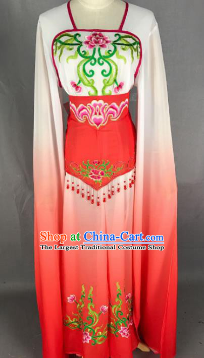 Chinese Ancient Court Maid Red Dress Traditional Beijing Opera Diva Costume for Adults