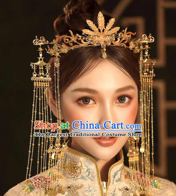 Chinese Ancient Golden Tassel Step Shake Wedding Hair Accessories Phoenix Coronet Traditional Hairpins for Women