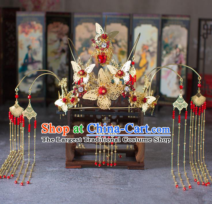 Chinese Ancient Tassel Butterfly Phoenix Coronet Wedding Hair Accessories Traditional Hairpins for Women