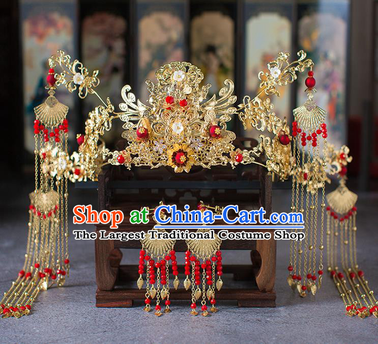 Chinese Ancient Wedding Tassel Phoenix Coronet Hair Accessories Traditional Hairpins for Women