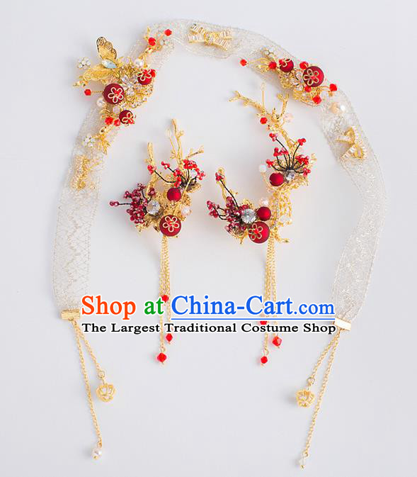 Top Grade Bride Wedding Hair Accessories Golden Butterfly Hair Clasp Headband for Women