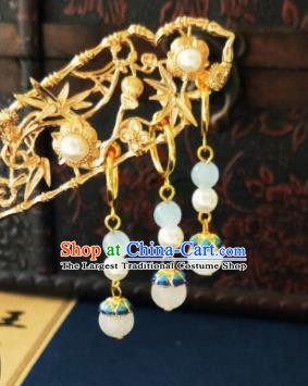 Chinese Ancient Blueing Earrings Qing Dynasty Manchu Palace Lady Three Strings Ear Accessories for Women