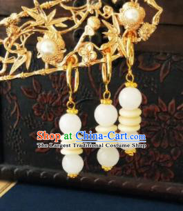 Chinese Ancient Jade Beads Earrings Qing Dynasty Manchu Palace Lady Three Strings Ear Accessories for Women