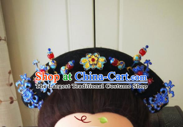 Chinese Ancient Qing Dynasty Hair Accessories Cloisonne Hairpins Complete Set for Women