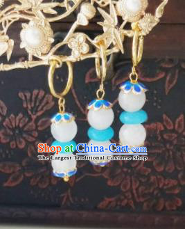 Chinese Ancient Earrings Qing Dynasty Manchu Palace Lady Three Strings Blue Beads Ear Accessories for Women