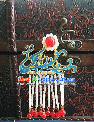 Chinese Ancient Qing Dynasty Hair Accessories Palace Phoenix Tassel Hairpins for Women