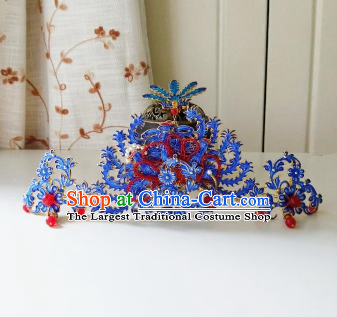 Chinese Ancient Cloisonne Phoenix Coronet Qing Dynasty Hair Accessories Hairpins for Women