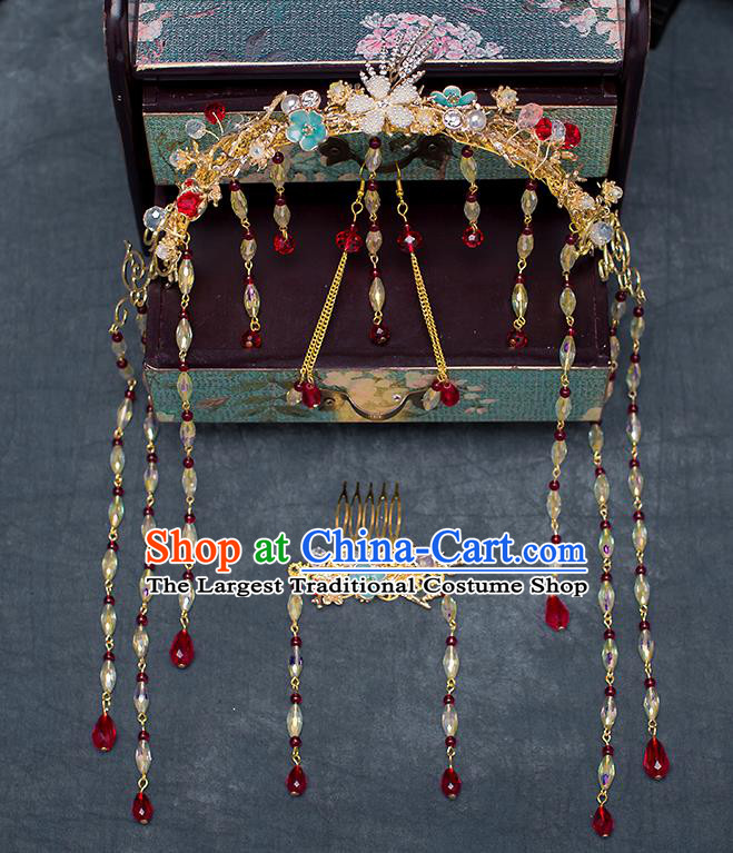 Chinese Traditional Wedding Bride Hair Accessories Ancient Phoenix Coronet Hairpins for Women