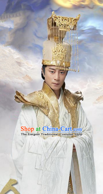 Chinese Ancient Emperor Clothing The Honey Sank Like Frost King Costumes and Headpiece Complete Set