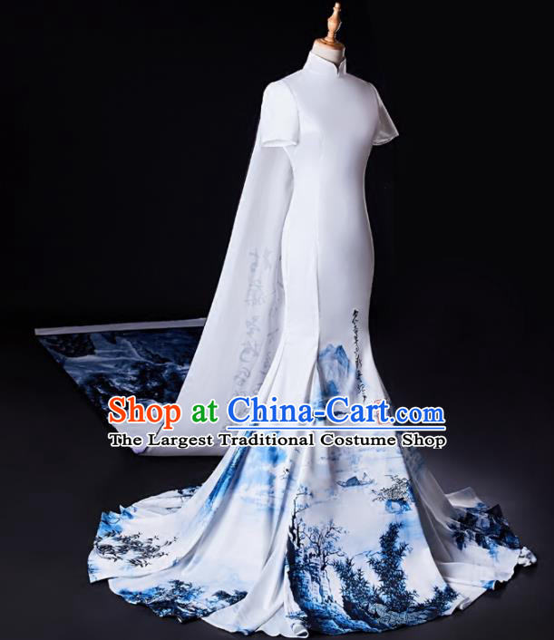 Chinese Traditional National Cheongsam Compere Chorus Costume White Full Dress for Women