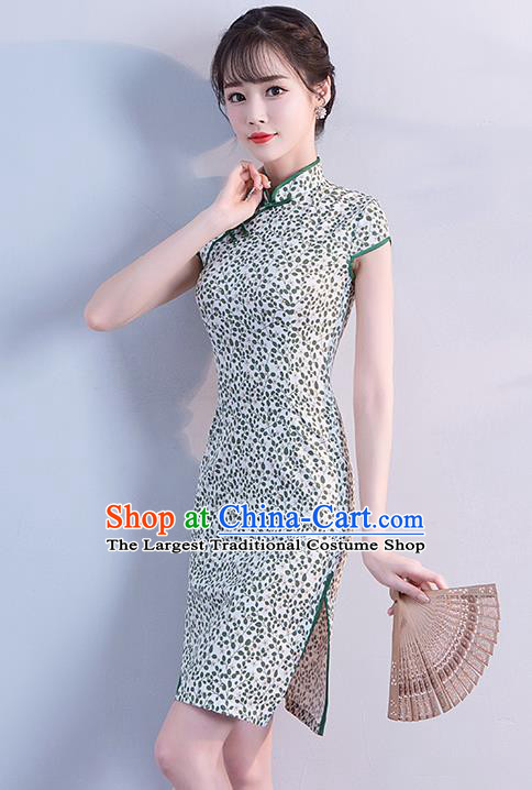 Chinese Traditional Qipao Dress Short Cheongsam Compere Costume for Women