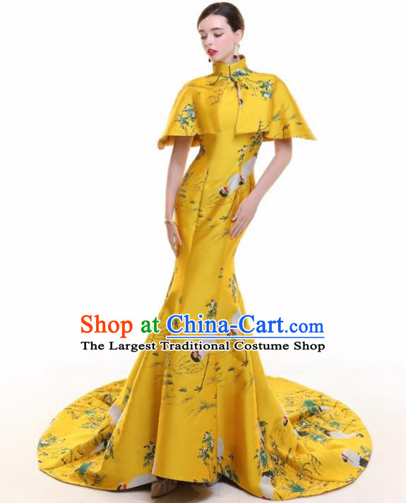 Chinese Traditional Yellow Trailing Cheongsam Full Dress Compere Chorus Costume for Women