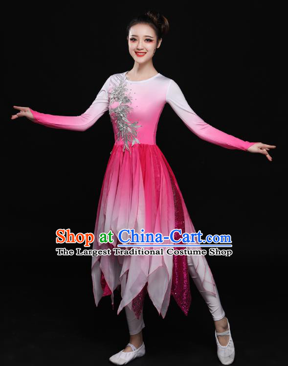 Chinese Traditional Classical Dance Fan Dance Pink Dress Umbrella Dance Costume for Women