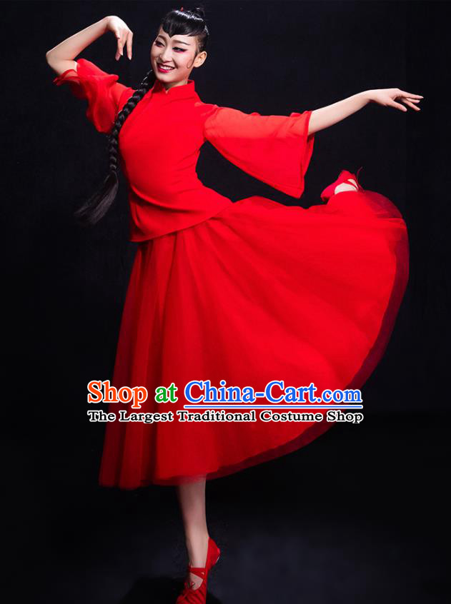 Chinese Traditional Yangko Dance Umbrella Dance Red Clothing Classical Dance Costume for Women
