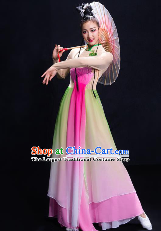 Chinese Traditional Umbrella Dance Lotus Dance Clothing Classical Dance Costume for Women