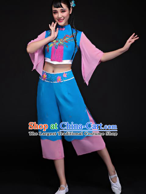Chinese Traditional Folk Dance Yangko Blue Clothing Classical Umbrella Dance Costume for Women