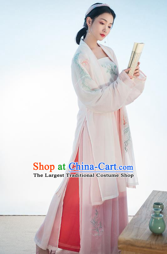 Chinese Traditional Song Dynasty Costume Ancient Young Lady Embroidered Clothing for Women