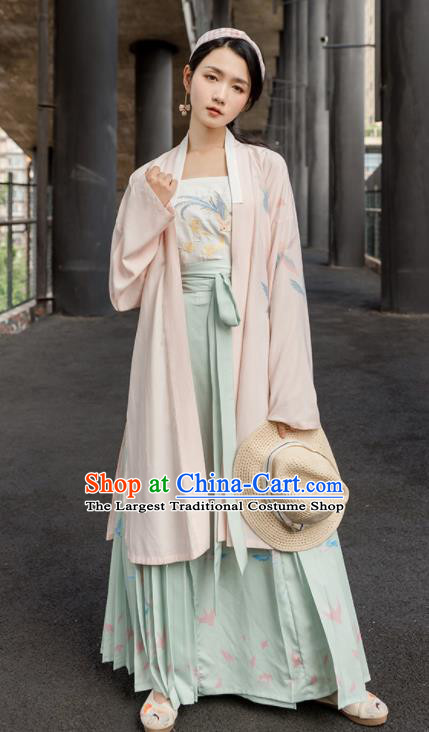 Traditional Chinese Song Dynasty Costumes Ancient Young Lady Embroidered Hanfu Dress for Women