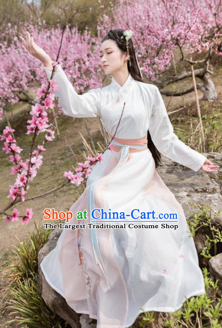 Traditional Chinese Ming Dynasty Young Lady Costumes Ancient Embroidered Hanfu Dress for Women