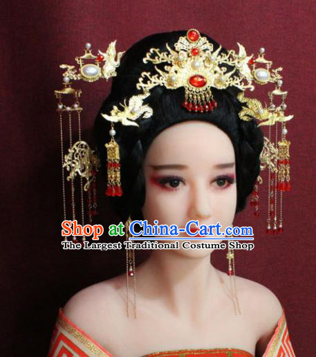 Chinese Ancient Princess Hair Accessories Palace Lady Red Crystal Phoenix Coronet Hairpins for Women