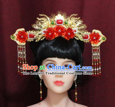 Chinese Ancient Palace Red Peony Hair Accessories Handmade Tang Dynasty Princess Phoenix Coronet Hairpins for Women