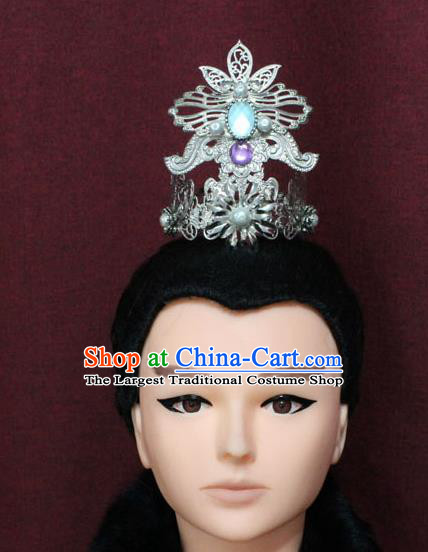 Chinese Traditional Royal Highness Hair Accessories Ancient Han Dynasty Prince Hairdo Crown for Men