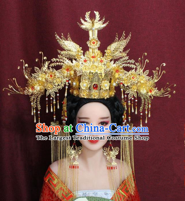 Chinese Ancient Ming Dynasty Empress Hair Accessories Golden Tassel Phoenix Coronet Hairpins for Women